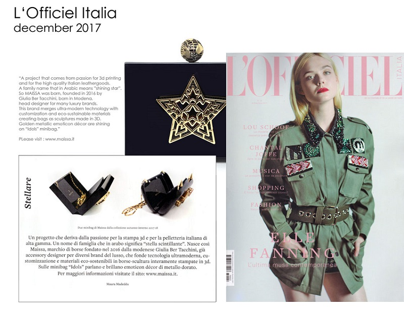 L Officiel number of decembre 2017 about Maissa Giulai Ber Tacchini italian jewels and luxury in Milano