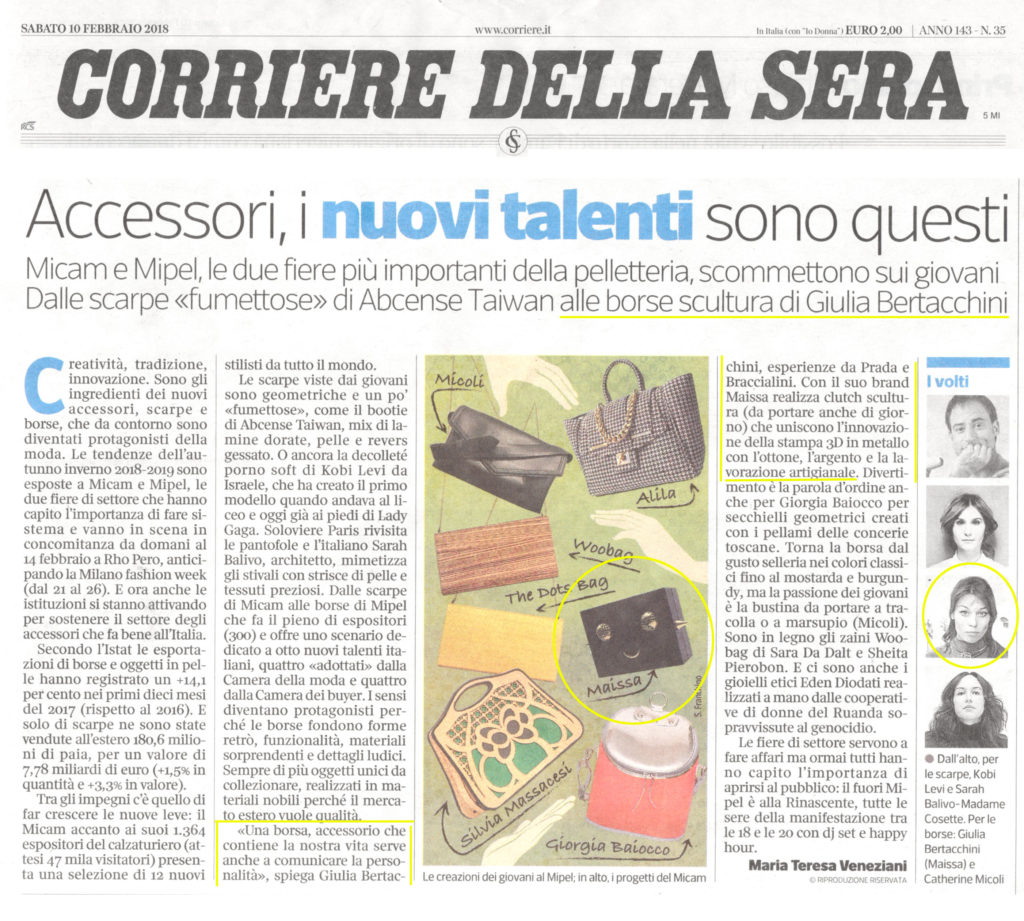 Press Corriere della Sera February 2018 Maissa Giulia Ber Tacchini Italian Jewels and Luxury