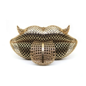 Mr. Lips Gold Clutch Bag 00 - Maissa by Giulia Ber Tacchini Italian Custom Jewels and Luxury